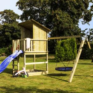 Woodinis Kinder Baumhaus RAVEN mit Nestschaukel + Rutsche,natur