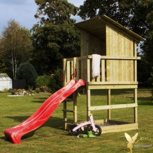 Woodinis Spielturm Kinder Baumhaus RAVEN mit Rutsche rot,natur