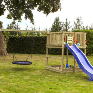 Woodinis Spielturm KIDS-PLAY L mit Nestschaukel u. Rutsche,natur