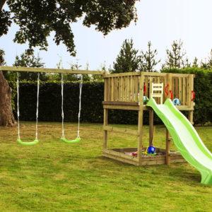 Woodinis Spielturm KIDS-PLAY M mit Rutsche u. Schaukel grün,natur