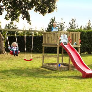 Woodinis Spielturm KIDS-PLAY M mit Rutsche u. Schaukel rot,natur