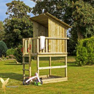 Woodinis Spielturm / Holz Spielhaus RAVEN mit Sandkasten,natur