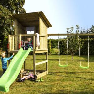 Woodinis Kinder Baumhaus RAVEN mit Schaukel u. Rutsche grün,natur