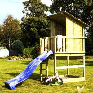 Woodinis Spielturm Kinder Baumhaus RAVEN mit Rutsche blau,natur