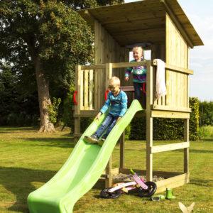 Woodinis Spielturm / Holz Spielhaus RAVEN inkl. Rutsche grün,natur